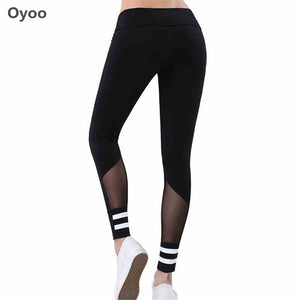 Tummy Control High Waist Yoga Running Pants- Stripes Mesh Sport Leggings