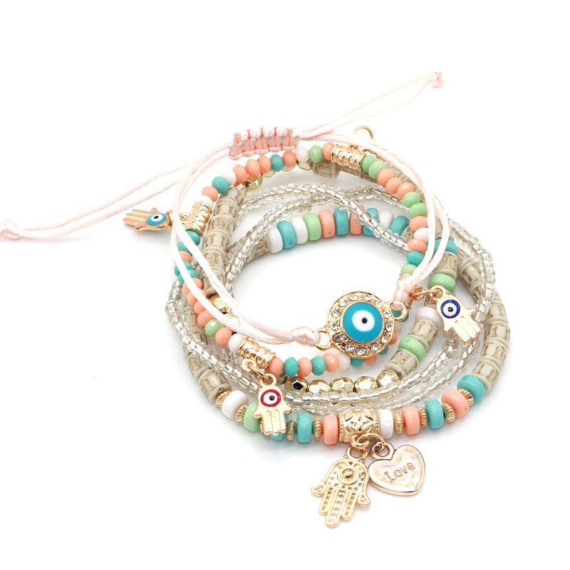 Bohemian Charm Bracelet 6 piece set - Hamsa Hand Evil Eye Bracelets For Women Jewelry Boho Bangles