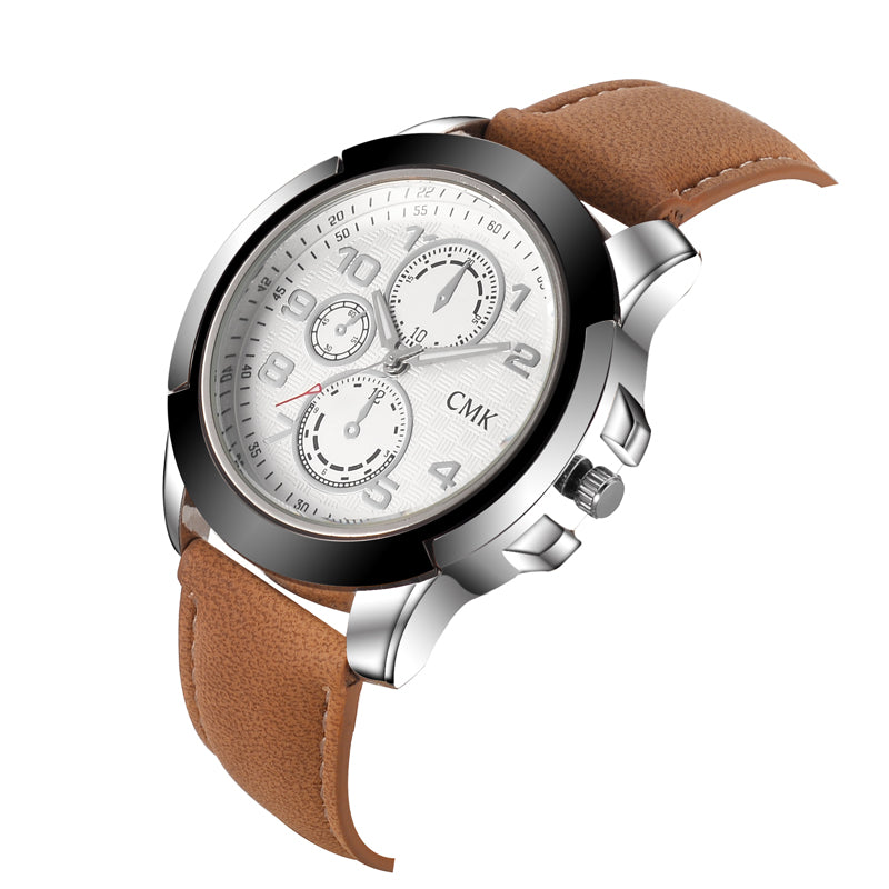 Fashion sports casual leather strap watch quartz - men or women's watches