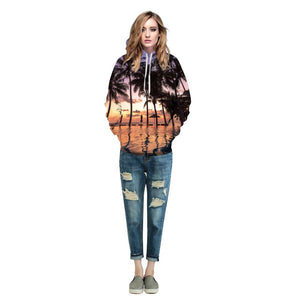 Women/Men Sport Hoodies Plant Trees Print Running Sweatshirts