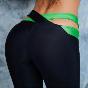 Cross Waist Contrast Yoga Pants - Exotic Leggings Sportswear