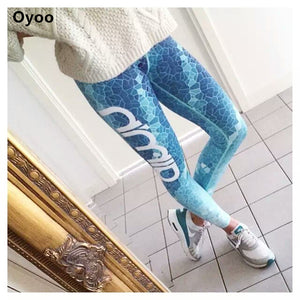 Blue Ocean Gride Code Ombre Print Women's Yoga Leggings - Mermaid