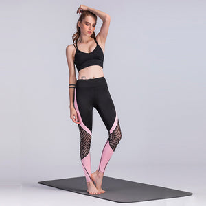 New black lace stitching pink sporty Leggings mesh side panel Yoga Pants