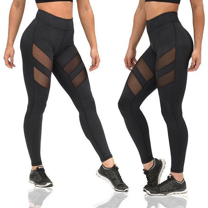Hot Fashion Sexy Women Exercise Mesh Breathable Compression Leggings