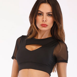 Acefancy Short Sleeve Yoga Top Push Up Gym Top
