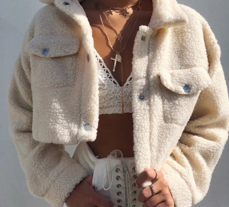 Elegant Solid Color Cropped Teddy Jacket