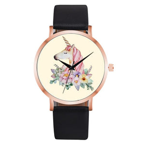 Fashion Cute Unicorn Animal Watch Women Girl Leather Strap