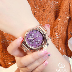 Women Fashion Exquisite Rose Gold Wrist Watches - Top Luxury Stainless Steel