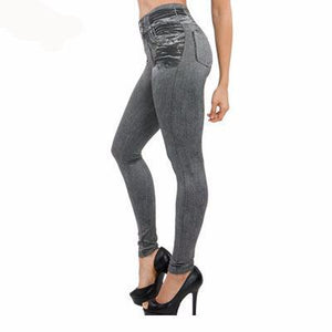 Leggings Jeans for Women Denim Pants with Pocket Slim Leggings & Women Fitness Plus Size