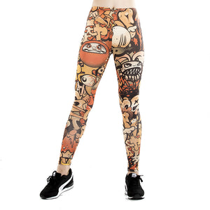 Fitness leggings women slim thin 3D printed high leggings