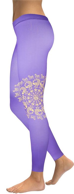 Women's yoga Leggings White Ink - Watercolor compression