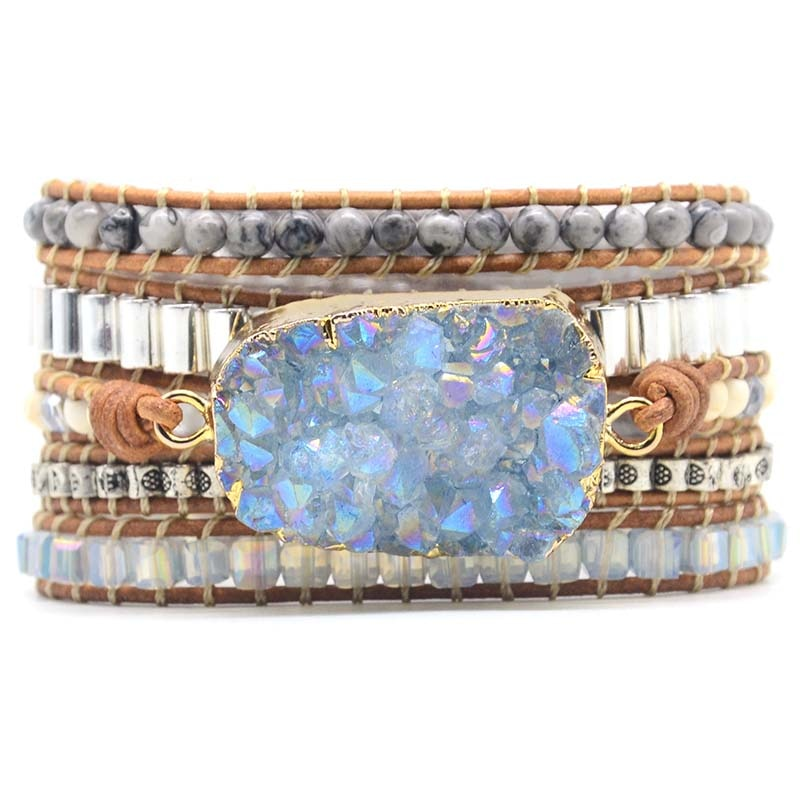 Leather Bracelets Unique Mixed Natural Stones Gilded Druzy Charm - Light Blue