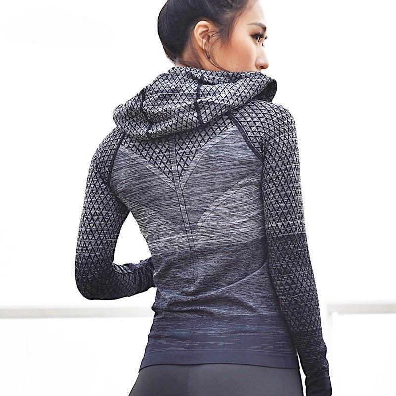 Front Zipper hooded Women's Yoga Running Jacket
