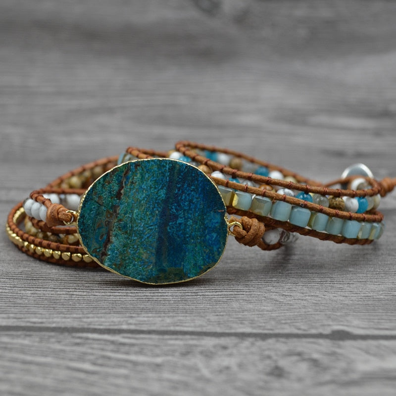 New Women Leather Bracelet Unique Mixed - Large Blue Stone