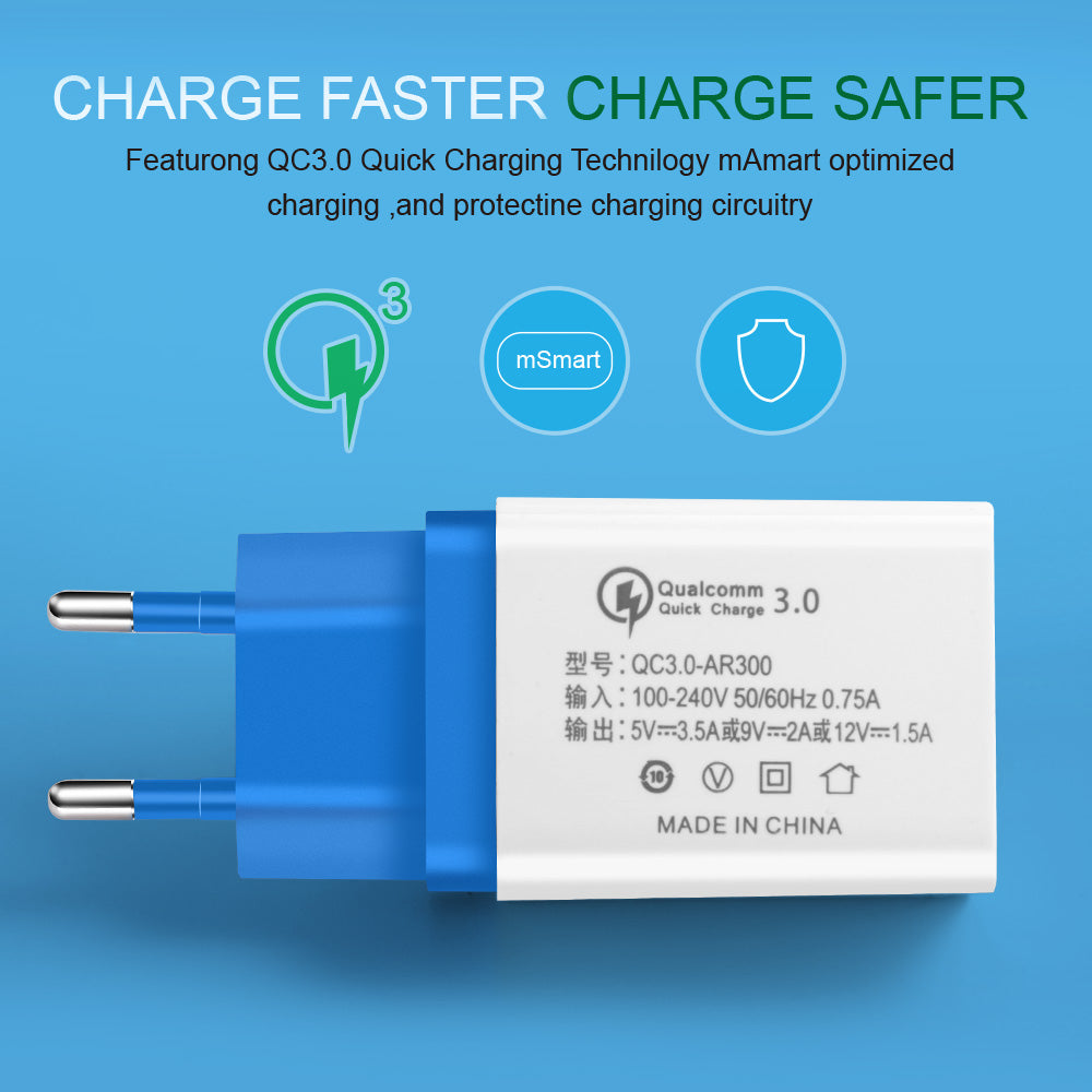 Quick Charge 3.0 USB Charger Fast Charger 18W EU Wall usb portable charger Adapter Mobile Phone Cable For Samsung Xiaomi LG