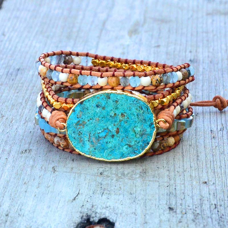 Ocean Blue Stone Bracelet Boho 5X Leather Friends Bracelet