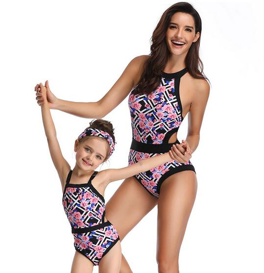 One Piece Swimsuit Mother and Daughter Swimsuit For Girls and Mommy