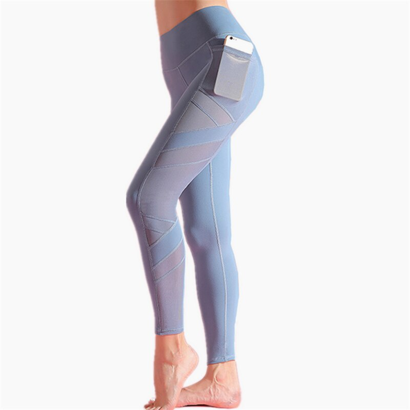 High Rise Mesh Yoga Pants With Pockets