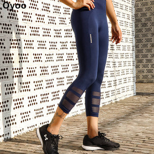 Reflective Navy Mesh Sport Leggings