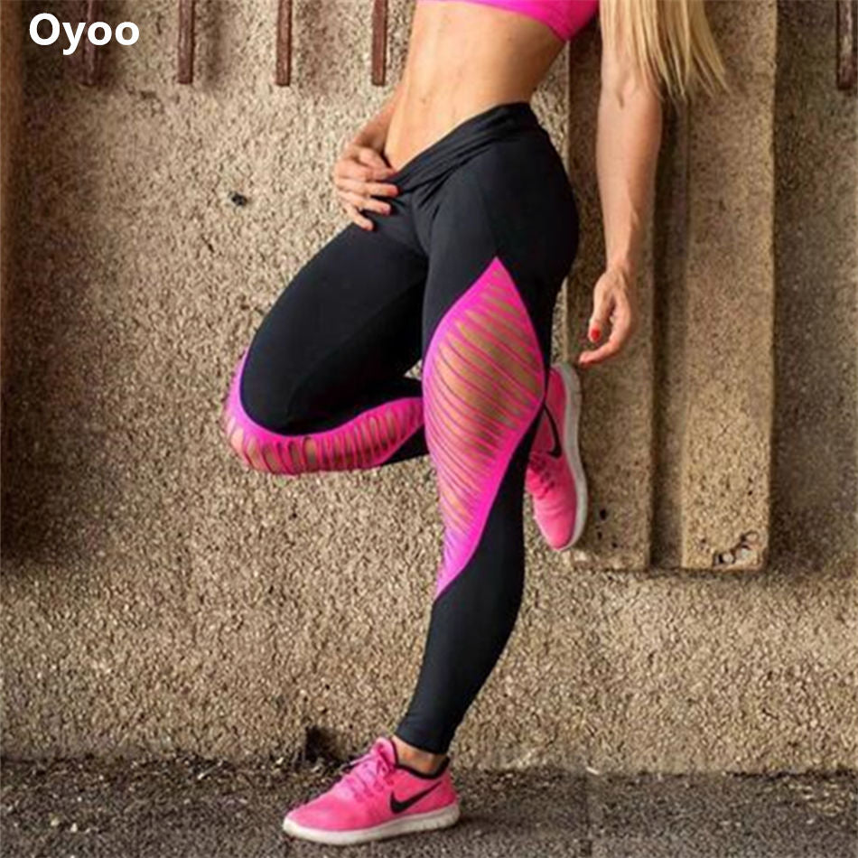 Pink and black sexy hollow out pink sport leggings