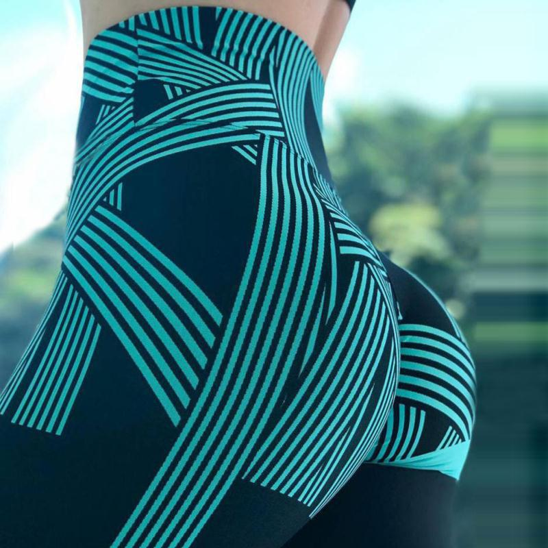 High Waist Leggings -Ladies Digital Striped Fitness Leggings