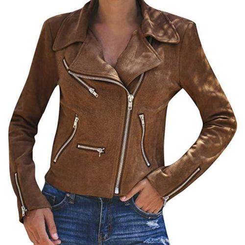 Women's Dress 2019 New Casual Women's Ladies Suede Leather Jacket