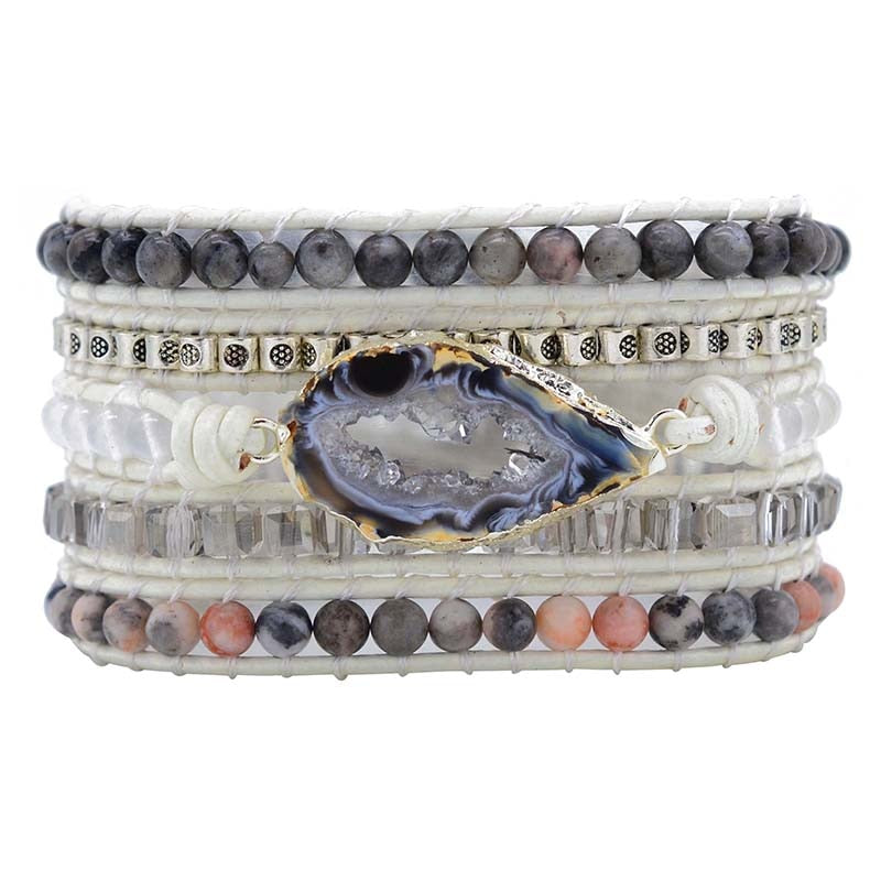 Unique Natural Stones Druzy Wrap Bracelet