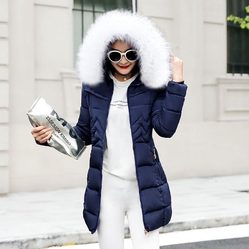 Long Jacket Style Winter Coat - Parka - Fur Like Collar