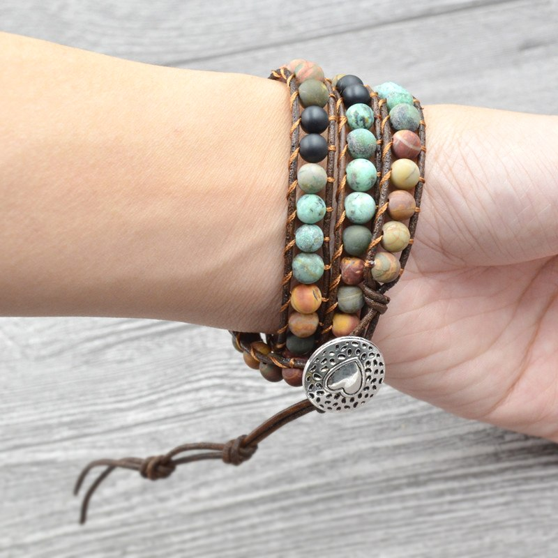 Boho Bracelets Vintage Leather and Natural Stone  - 3 Multi-layer Strands with heart charm