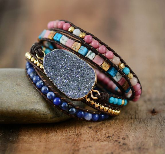 Women Leather Bracelets Unique Natural Stones -  Druzy Charm 5 Strands