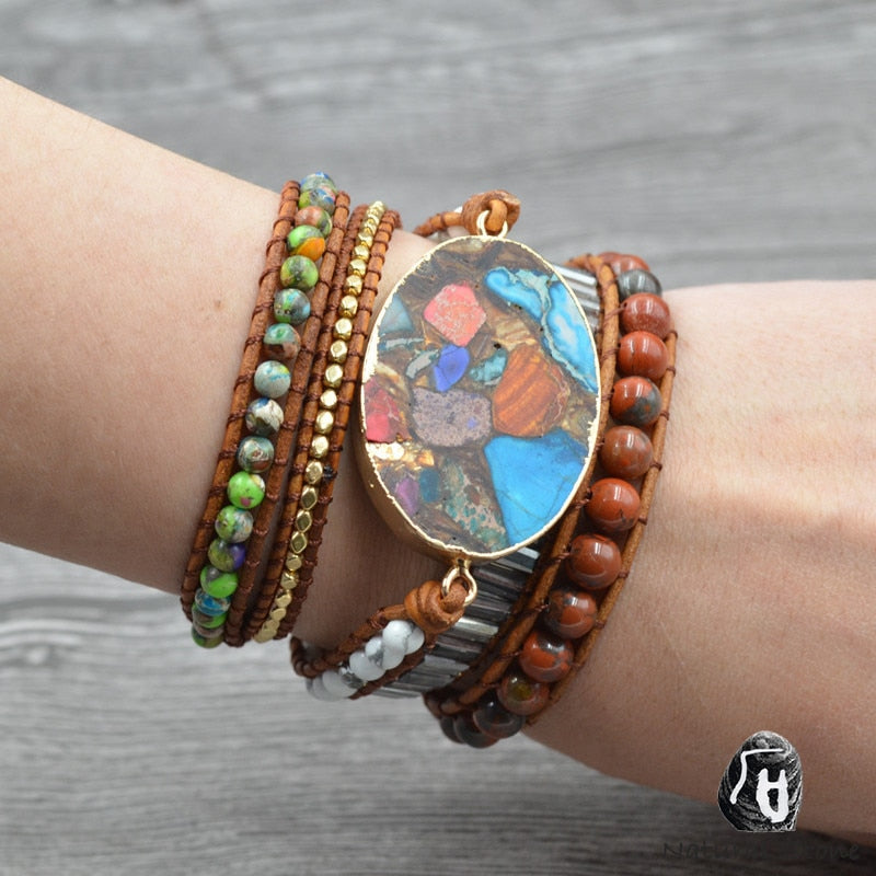 Women Summer Boho Bracelet -Natural Stone Leather Wrap Bracelet 5 Layers - Handmade Cuff Bracelets