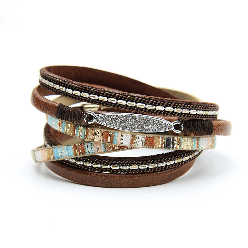Women Leather Bracelet With Gold Color Rhinestones