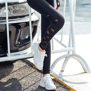 Women's Mesh Panel Side High Black Sport Leggings - Tummy Control