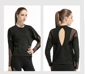 Mesh Patchwork Women Long Sleeve - White or Black Yoga Top