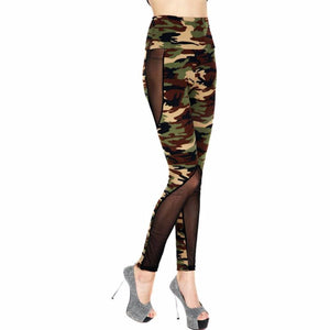 Tall -Women Printed Legging Knitted Fashion Tall Waist Camouflage Print