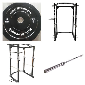Power rack package with 100kg bumper pack & Olympic barbell (Pre order - Orders dispatched w/c 8th of March)