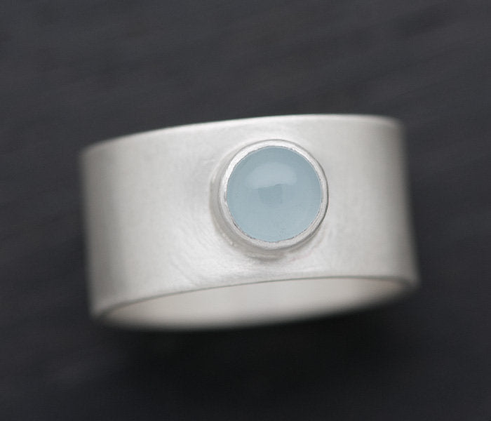 Handmade hammered sterling silver and turquoise wide band statement ring