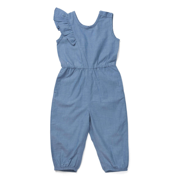 Monica + Andy:One-Piece,Chambray Sleeveless Ruffle Jumpsuit