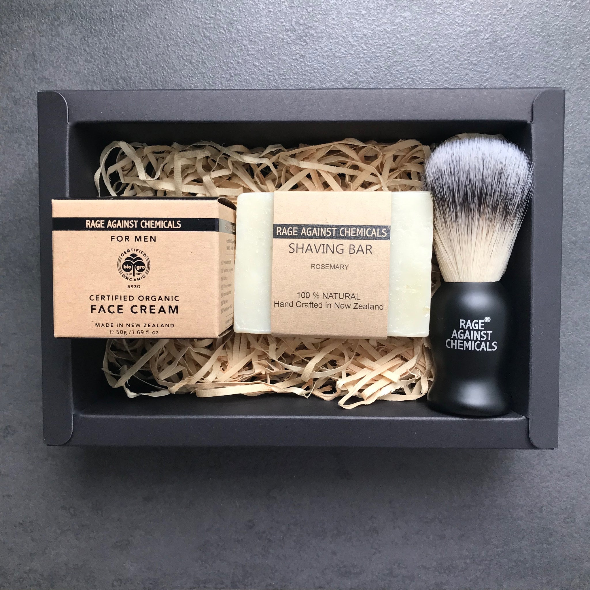 Shaving Brush, Bar and Face Cream Kit  - Certified Organic Skincare - Rage Against Chemicals