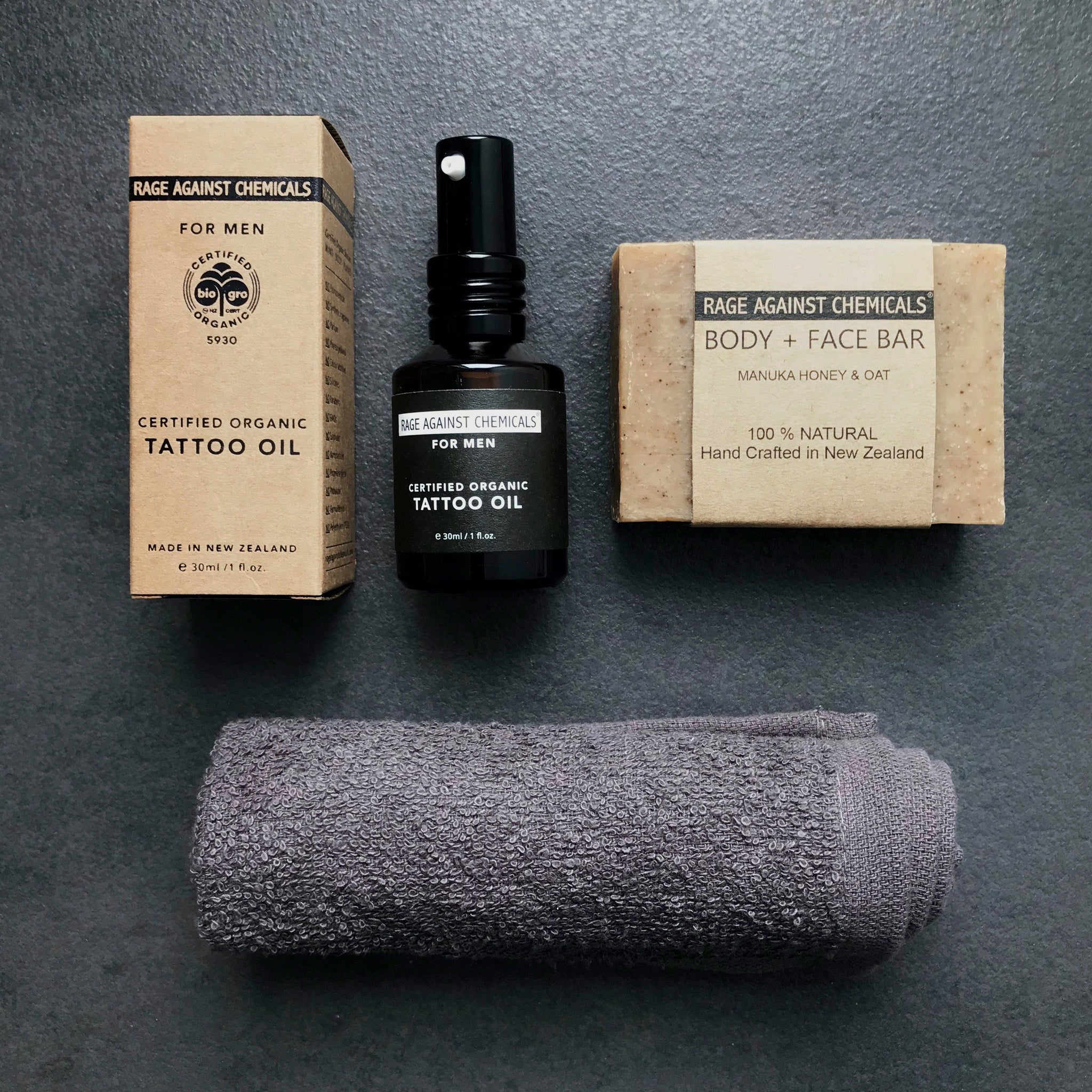 Tattoo Oil & Body Scrub Gift Set - Men's Skincare