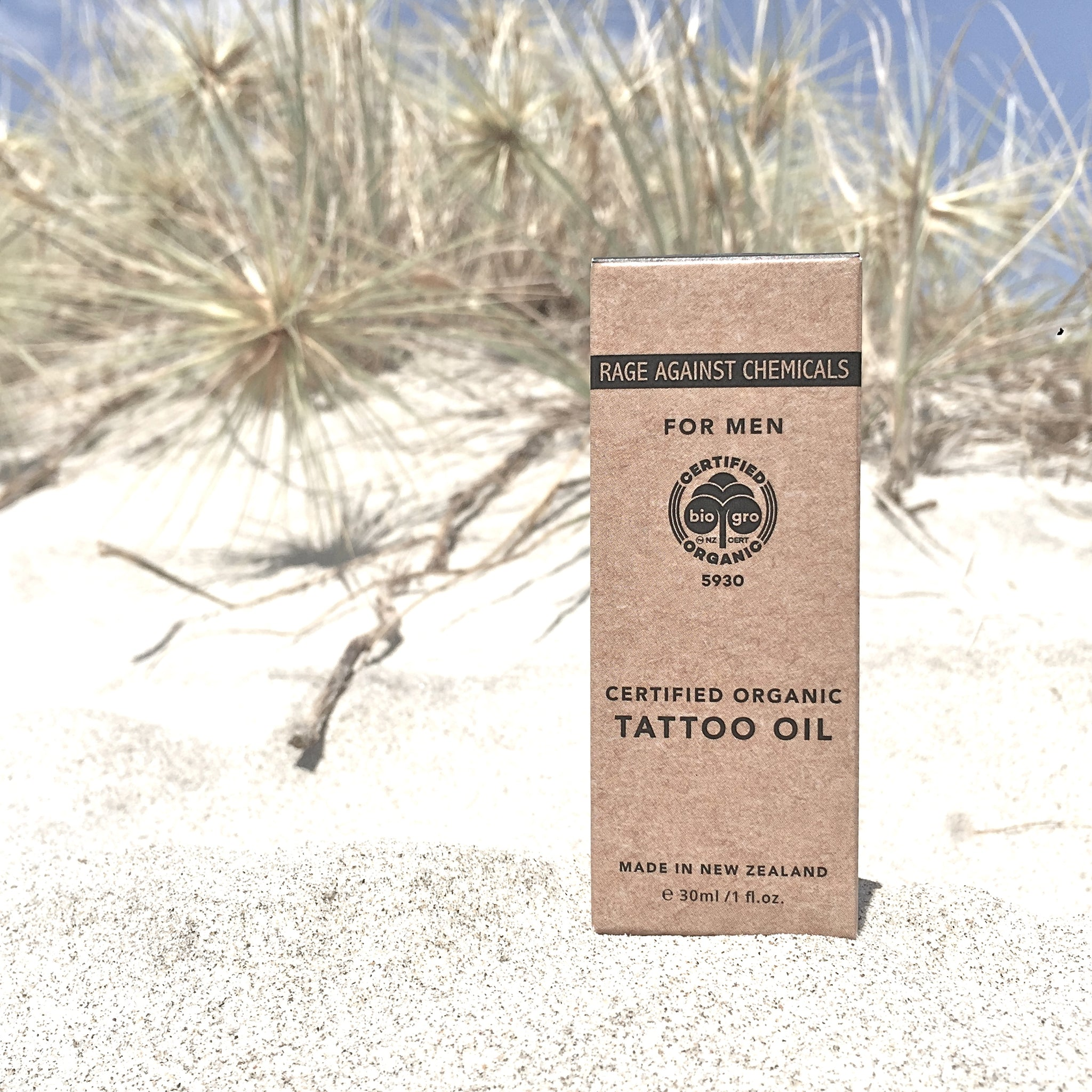 Tattoo Oil For Men - Certified Organic - Rage Against Chemicals  - Moisturise & Enhance Tattoos
