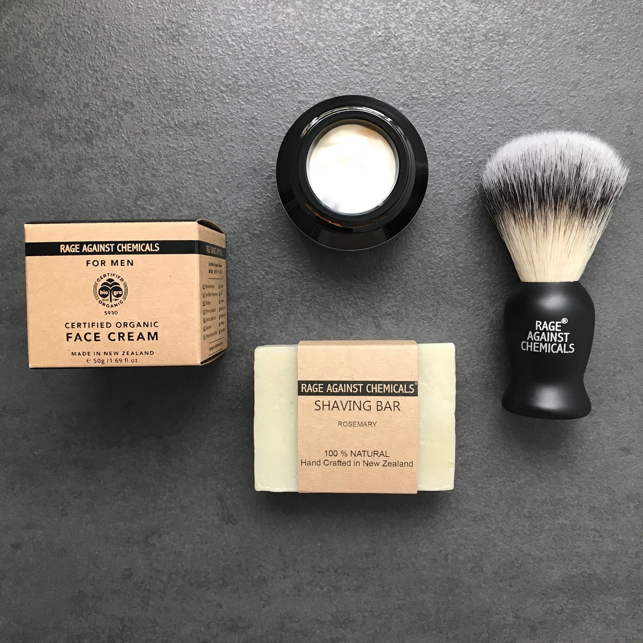 Shaving Brush, Bar & Face Cream  Gift Set  - Rage Against Chemicals - Certified Organic Skincare