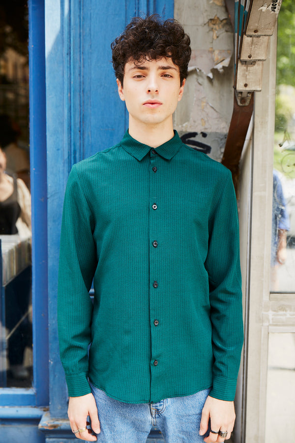 Chemise Beatles Green Silk