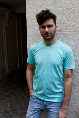 T-Shirt bleu turquoise American Apparel - T.M