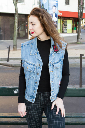 Veste en jean sans manche mixte from New York - T.M à T.XL