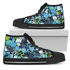 Funky Patterns in Blues - Women's High Top Shoes (Black)