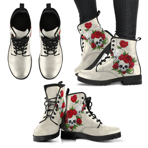Skull Couple Roses (Sweet Corn) - Leather Boots for Women