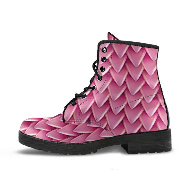 Fantasy Dragon Scales (Pink) - Vegan Leather Boots