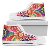 Abstract Bright Floral (White) - Women's High Top Shoes