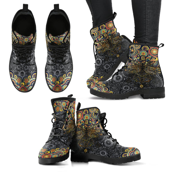 Yellow Mandala Dragonfly - Leather Boots for Women, SHOES, MCB Buys